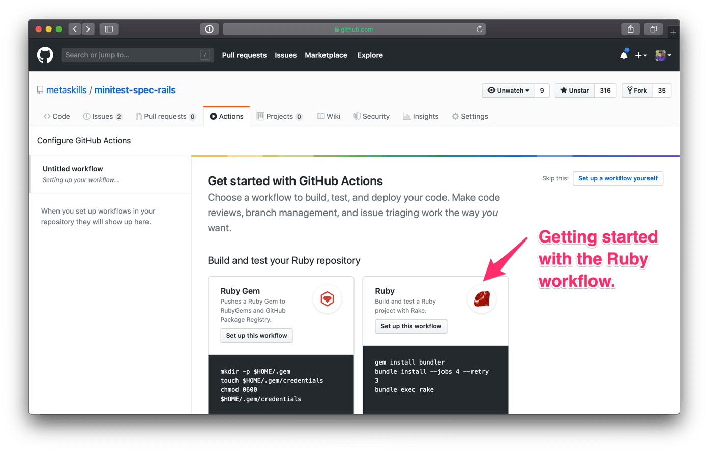 GitHub Actions Getting Started w/Ruby Workflow #1